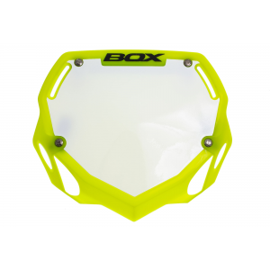 Plaque bmx BOX Phase 1 Number Plate S ou L Jaune Fluo -30%