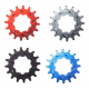 """Pignon RENNEN Aluminium Cnc Cogs 3/32"""" 16 Dents Rouge Bleu Noir Argent (BMX Race)  -20%"""