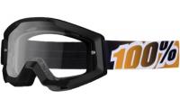 Masque 100% STRATA Moto Goggle Black Mandarina (Noir) - Clear Lens -40%